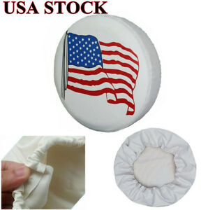 14 Spare Tire Cover White Usa Flag Tyre Wheel Protect For Auto Jeep Liberty Crv