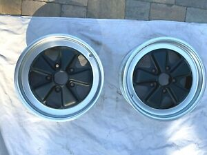Porsche Pair 6x16 Black Fully Restored Fuchs 911 361 020 43
