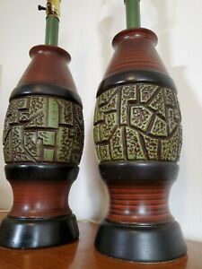 2 Vtg Mid Century Modern Ceramic Brutalist Abstract Table Lamps 29