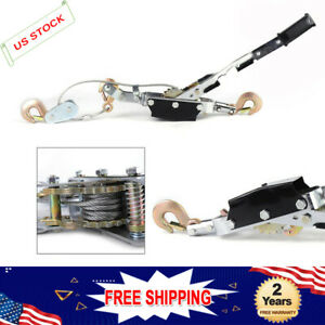 5 Ton Wire Rope Tightener Come Along Winch Cable Hand Power Puller 3 Hooks New