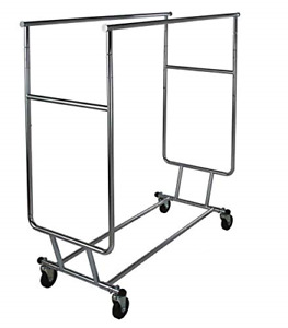 Only Garment Racks Commercial Grade Double Rail Rolling Clothing Rack Heavy