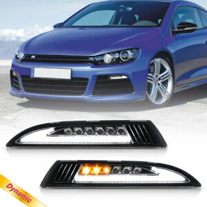 Smoke Led Daytime Running Light Sequential Turn Signal For 08 13 Vw Scirocco Iii