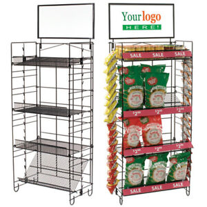 Four Shelf Retail Merchandiser Rack With 2 Clipping Strips