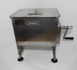 Uniworld Deluxe Meat Mixer Stainless Steel W Cover Hand Crank manual Handle