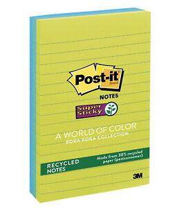 Post it Super Sticky Recycled Paper Lined Notes 4 X 6 Inches Bora Bora Colors