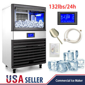 Us 132lbs Built in Commercial Ice Maker Undercounter Freestand Ice Cube Machine