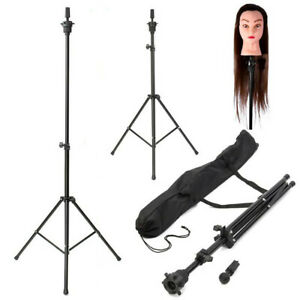 Adjustable Wig Head Stand Mannequin Tripod Holder For Hairdressing Training Usa