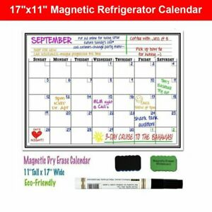 Magnetic Refrigerator Whiteboard Dry Erase Monthly Calendar Eraser Markers 17x11