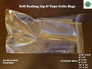 Self Seal Cello Plastic Bags Clear Flap Lip Tape 1 6 Mil Shirt Apparel Food