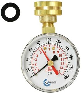 Carbo Instruments 2 1 2 Water Pressure Test Gauge 200 Psi 3 4 Female Hose