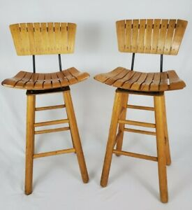 Mid Century Modern Slat Wood Swivel Bar Stool Chair Arthur Umanoff Style Vintage