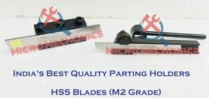 Combo Of Lathe Clamp Type Parting Cut Off Tool Holder 8mm Shank With Hss Blades
