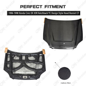 Carbon Yc Design Style Hood Bonnet Cover For 96 98 Honda Civic Ek 3dr Hatchback