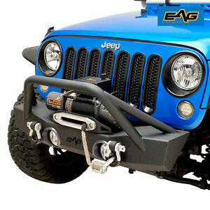 Eag Stubby Front Bumper With Winch Mount Plate Fit For 07 18 Jeep Jk Wrangler