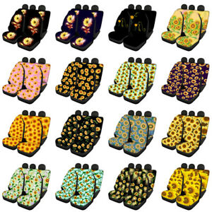 Sunflower Car Seat Covers For Women Full Set Combo Front Rear Seats Protective