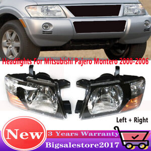 For 2000 2006 Mitsubishi Pajero Montero Left Right Set Front Head Lamps Lights