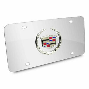 3d Cadillac Logo Mirror Chrome Stainless Steel Front License Plate Caps