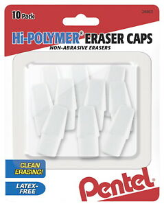 Pentel Hi polymer Eraser Caps White Pack Of 10