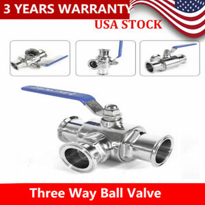 2 Inch Quick Switch Sanitary 304 Three Way Ball Valve Stainless Clamp T Type