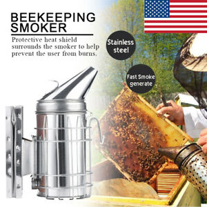 Bee Shield Hive Smoker Heat Equipment Stainless Steel Beekeeping Smoke Tool New