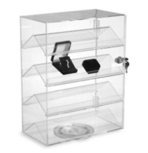 Small Countertop Display Case W 4 Double sided Shelves Locking Door Rotating
