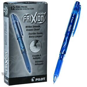Pilot 31574 Blue Frixion Point 0 5mm Extra Fine Erasable Gel Ink Pen Box Of 12