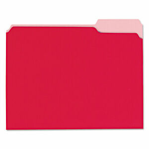 Universal Recycled Interior File Folders 1 3 Cut Top Tab Letter Red 100 box