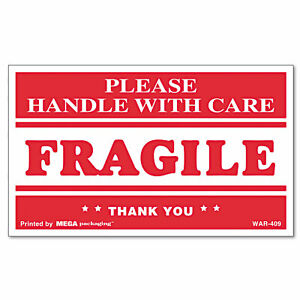 Universal Fragile Handle With Care Self adhesive Shipping Labels 3 X 5 500 roll