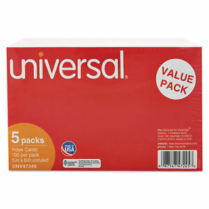 Universal Unruled Index Cards 5 X 8 White 500 pack 47245