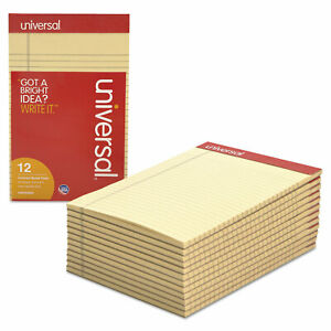 Universal Colored Perforated Note Pads Narrow Rule 5 X 8 Ivory 50 Sheet Dozen