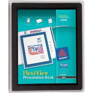 Avery Presentation Books 24 Pages 8 1 2 x11 Black Framed Cover 47690