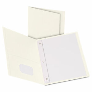 Oxford Twin pocket Folders With 3 Fasteners Letter 1 2 Capacity White 25 box