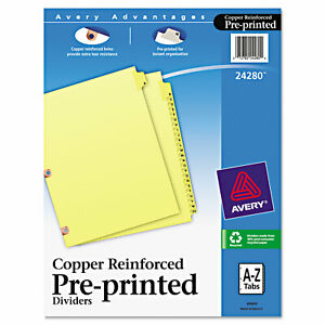 Avery Preprinted Laminated Tab Dividers W copper Reinforced Holes 25 tab Letter