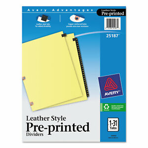 Avery Preprinted Black Leather Tab Dividers W copper Reinforced Holes 31 tab
