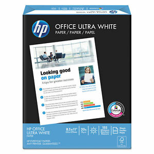 Hp Office Ultra white Paper 92 Bright 20lb 8 1 2 X 11 500 ream 10 carton 112101