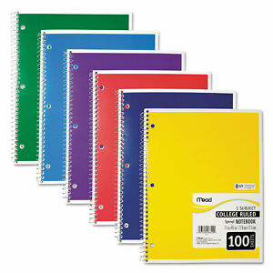Mead Spiral Bound Notebook Perforated College Rule 11 X 8 1 2 White 100 Sheets
