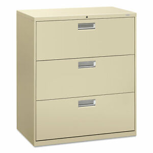 Hon 600 Series Three drawer Lateral File 36w X 18d Putty 683ll