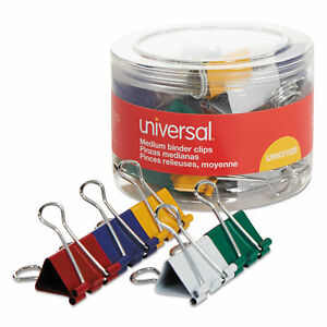 Universal Medium Binder Clips 5 8 Capacity 1 1 4 Wide Assorted Colors 24 pack
