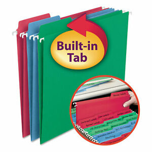 Smead Fastab Hanging File Folders Letter Assorted Primary 18 box 64053