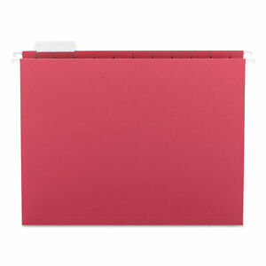 Smead Hanging File Folders 1 5 Tab 11 Point Stock Letter Red 25 box 64067