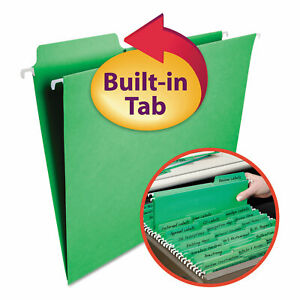 Smead Fastab Hanging File Folders Letter Green 20 box 64098