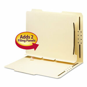 Smead Manila Self adhesive Folder Dividers W 2 prong Fastener 2 sect Letter 25