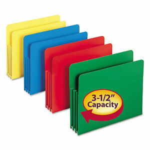Smead Exp File Pockets Straight Tab Poly Letter Assorted 4 box 73500