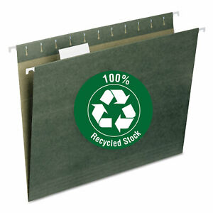 Smead Recycled Hanging File Folders 1 5 Tab 11 Point Stock Letter Green 25 box