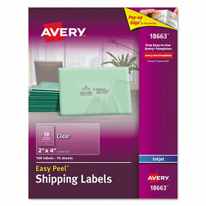 Avery Clear Easy Peel Mailing Labels Inkjet 2 X 4 100 pack 18663