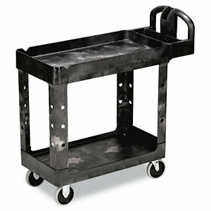 Rubbermaid Commercial Heavy duty Utility Cart Two shelf 17 1 8w X 38 1 2d X 38 7
