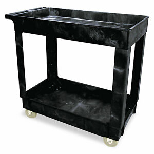 Rubbermaid Commercial Service utility Cart Two shelf 17w X 38d X 31h Black