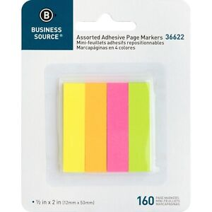 Business Source Page Markers 5 8 x1 7 8 160 Strips pk Assorted Neon 36622