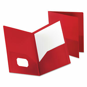 Oxford Poly Twin pocket Folder Holds 100 Sheets Opaque Red 57411