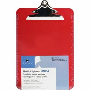 Business Source Clipboard Plastic W spring Clip Ruler 9 x12 Red 01864